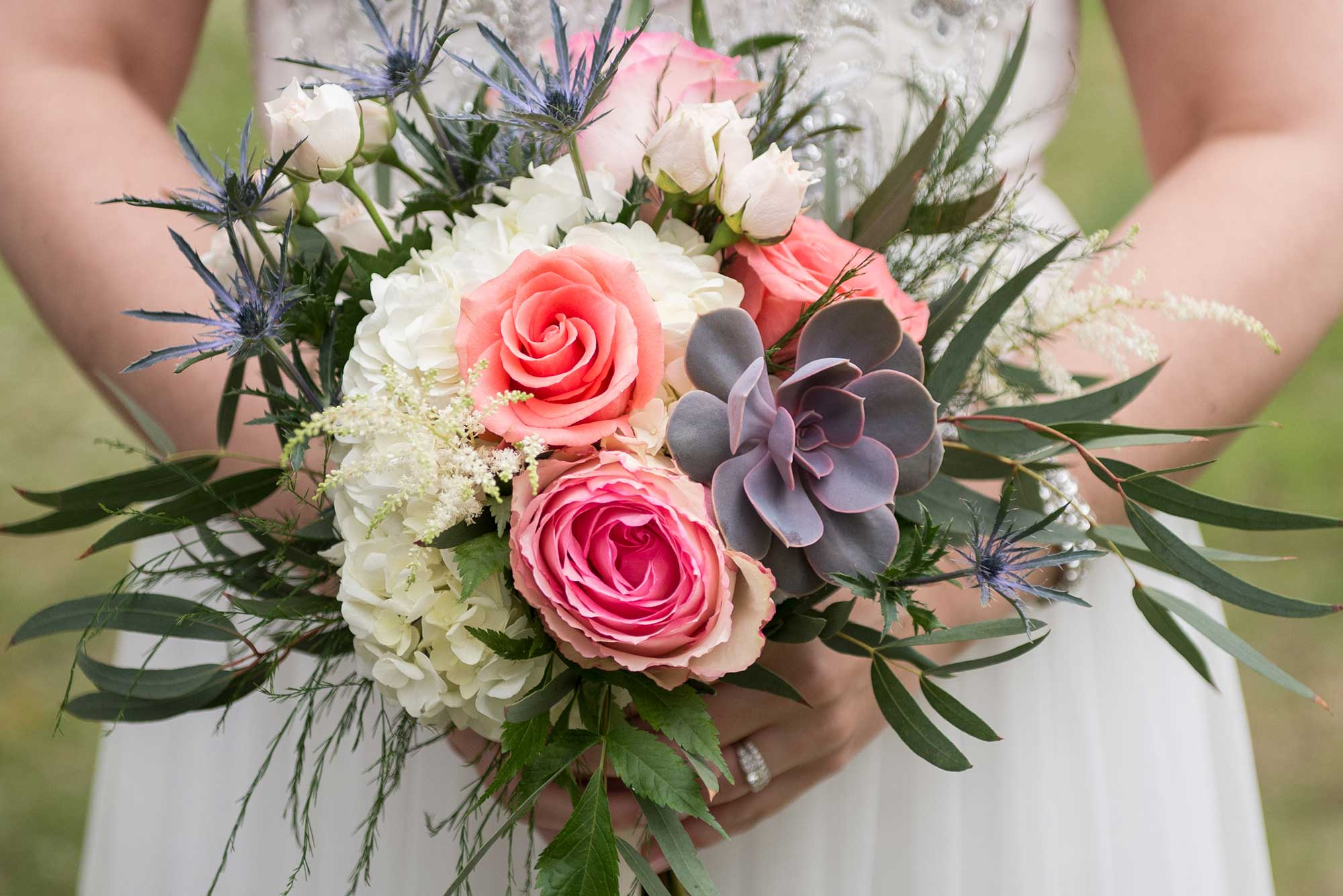 Flowers by Hoboken – pink and peach bouquet, white flowers, wedding flowers, order flowers online