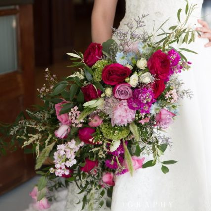 Flowers by Hoboken – bridal bouquet, wedding flowers, flower arrangement, red and pink wedding bouquet